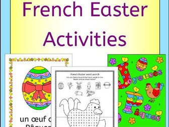 French Easter Activities Puzzles and Cards - Paques