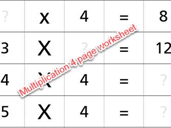 Multiplication 4 page worksheet