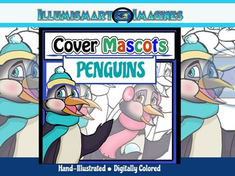 Cover Mascots: Penguins! (2 BW and 2 Color!) ClipArt
