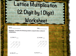 lattice multiplication  digit by  digit worksheet by  lattice multiplication  digit by  digit worksheet