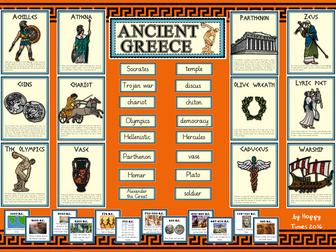 ANCIENT GREECE DISPLAY BUNDLE (Greek Posters, Timeline, Key words, Header)