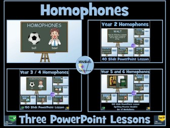 Homophones Three PowerPoint Lessons