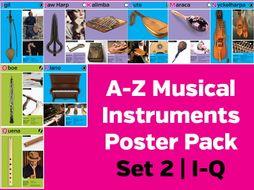 A-Z Musical Instruments Poster Pack Set 2: I-Q