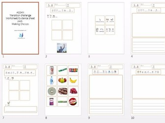 ASDAN Making Choices Transition Challenge Evidence Sheets