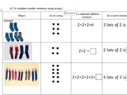 Y1 array worksheets - pairs by moshungbure - Teaching Resources - Tes