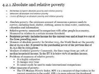 Edexcel A-level Economics Unit 4.2 Poverty and Inequality