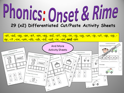 CVC/Onset and Rime, CVC Differentiated Phonics Cut and Paste Activity Sheets - EYFS/Year 1/Pre-K/K