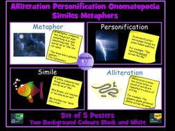 Figurative Language Posters: Simile, Personification, Metaphor, Alliteration and Onomatopoeia