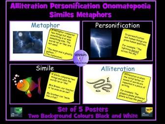 Figurative Language Posters: Simile, Personification, Metaphor, Alliteration and Onomatopoeia