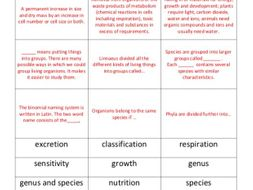 GCSE Biology Classification Matching Activity Starter Plenary