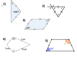 Angle facts, angles in triangles and quadrilaterals