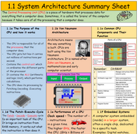 1.1 System Architecture Summary Sheet - CPU (with quick fire questions)