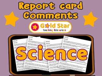 Report Card comments - Science