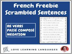 French scrambled sentences exercise - RE VERBS - Passé Composé - Negation
