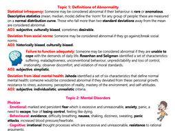 Psychopathology Revision (AS Psychology)
