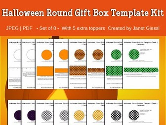 Halloween Round Gift Box Templates - Set of 8