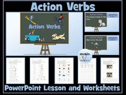 Action Verbs: PowerPoint Lesson and Worksheets