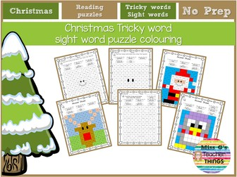 Christmas Tricky word sight word puzzle colouring - Year 1 / Year 2