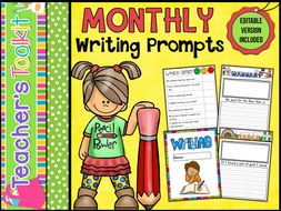 Writing | Monthly Writing Prompts | Assessment | Editable