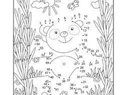 Connect the Dots and Coloring Page with Panda Bear by