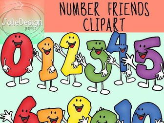 Number Friends Clipart Set - Color and Line Art 22 pc set