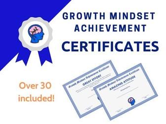 Growth Mindset Achievement Certificates Blue Edition