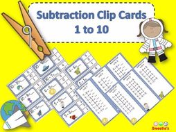 Subtraction Facts Clip Cards for 1 to 10 - SPACE