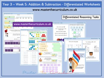 Year 3 – Week 5: Addition And Subtraction  Differentiated Worksheets White Rose
