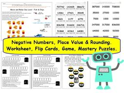y6 place value rounding and negative numbers differentiated worksheets and activities by. Black Bedroom Furniture Sets. Home Design Ideas