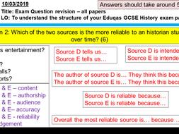 Eduqas GCSE History Entertainment & Leisure c500 exam question revision PowerPoint & worksheet