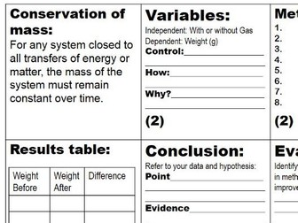 Thinking Scientifically - Controlled Assessment practise - Control Variable, Conclusion, Evaluation