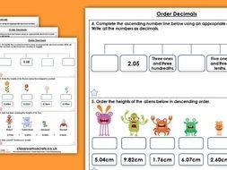 Ordering decimals homework year 5