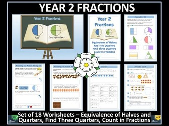 Fractions - Year 2 - Spring Term - 18 Worksheets - White Rose Maths Style