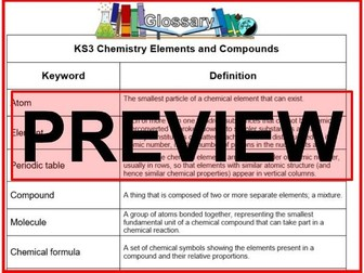 KS3 Science Glossary Chemistry Elements and Compounds  (Blank & Completed)