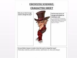 Scrooge Character Worksheet by V Browning Teaching