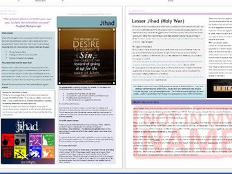 Islam: Practices: Greater and Lesser Jihad Revision Sheets