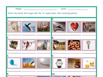Phonics H Sound Photo Worksheet