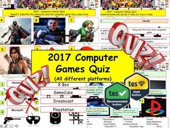 2017 - Computer Games Quiz  (Fiction, Literacy) - 7 rounds and 40+Qs' .Autumn Quiz- End of term Quiz