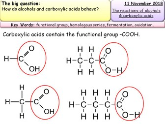 New AQA GCSE Chemistry topic 7-  Alcohols and their reactions and carboxylic acids