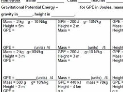 AQA GCSE Physics, Gravitational Potential Energy homework and test, plus  Mark scheme