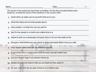 Airports and Hotels Scrambled Sentences Worksheet