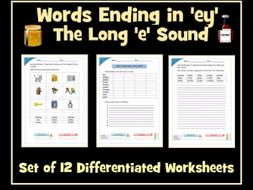 -ey words - (/i:/ sound spelt -ey) Worksheets
