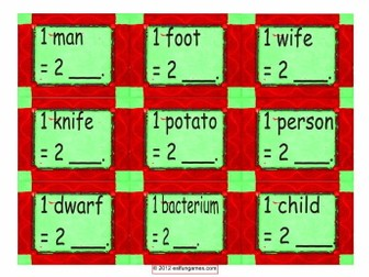Irregular Plural Nouns Card Game 4 Pages = 36 Cards