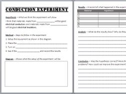 Electrical Conduction Experiment Write-up Sheet