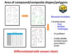 Area of compound/composite shapes/polygons (differentiated ...