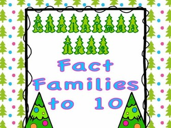 Fact Families to 10 Task Cards or SCOOT Game - Christmas Trees