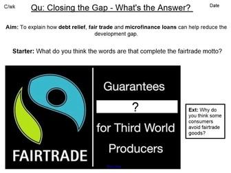 Debt relief, Fairtrade and Microfinance loans