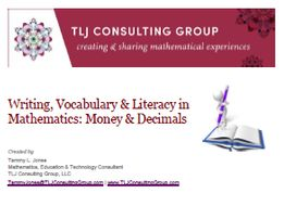 Writing, Vocabulary & Literacy in Mathematics: Money & Decimals