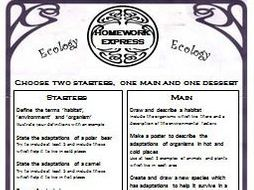 Homework Express Menu