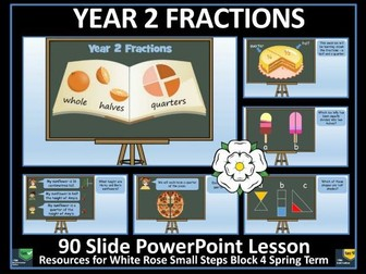 Fractions - Halves and Quarters - Year 2 - Spring Term - PowerPoint Lesson - White Rose Maths